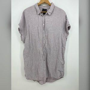 Tahari 100% Linen Tunic Dress Taupe Color Sz 2X